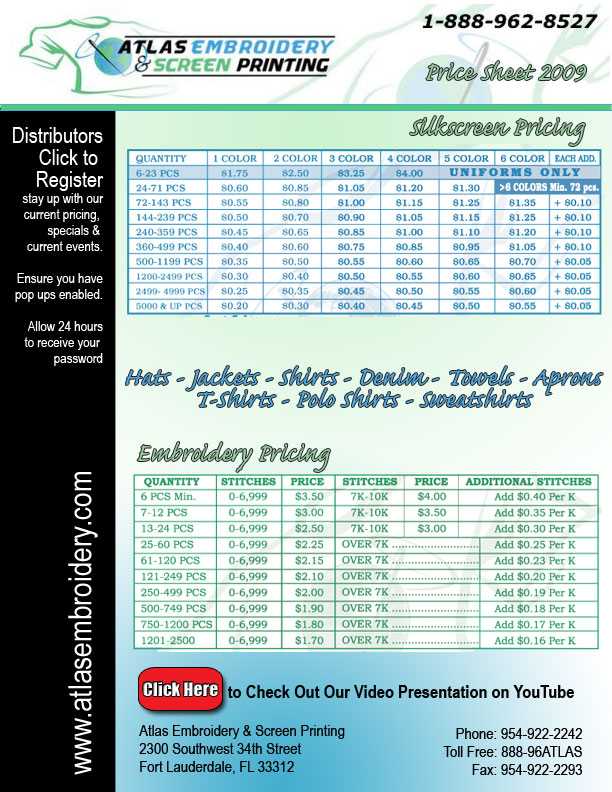 Promooffers Contract Screen Pricing From Atlas Embroidery Screen