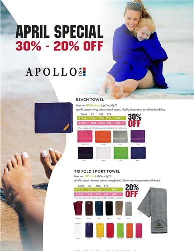 April Special! Promotional Items 30% - 20% OFF