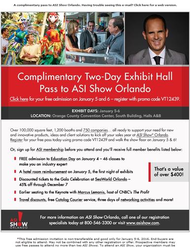 your complimentary two day pass to asi show orlando. Black Bedroom Furniture Sets. Home Design Ideas