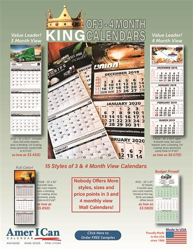 Early Order Now 3 and 4 month View Spiral Bound Calendars from American
