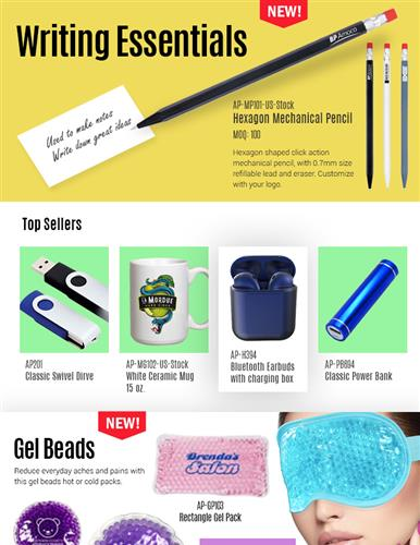 New Mechanical Pencils, Gel Beads Eye Masks, Mugs, Safety Products, Tech Promo & more