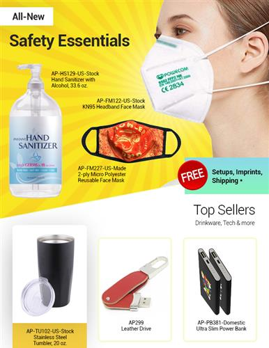 New KN95, Reusable Face Masks, Tech Promos, Drinkware, Bags, Stress balls & more