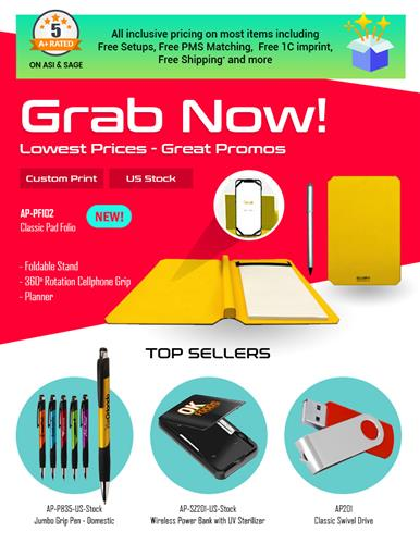 Grab Now! New Pad Folios, Pens, Flash Drives, PPE products. US STOCK!
