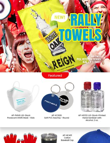 All-New Rally Towels, Baseball Caps. Order Now!