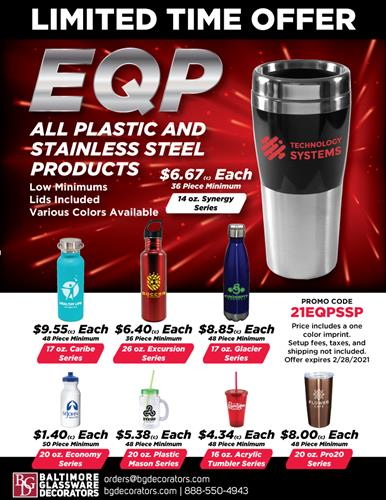 Limited EQP Pricing on All Stainless Steel and Plastic Drinkware