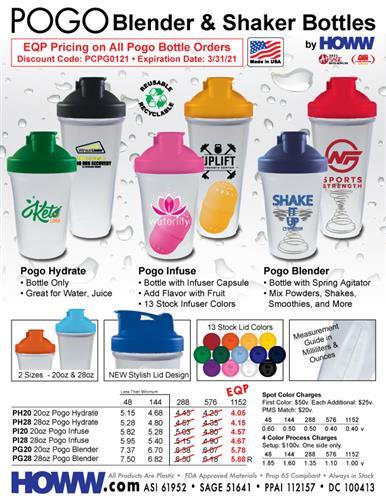POGO Blender & Shaker Bottles - Made in the USA