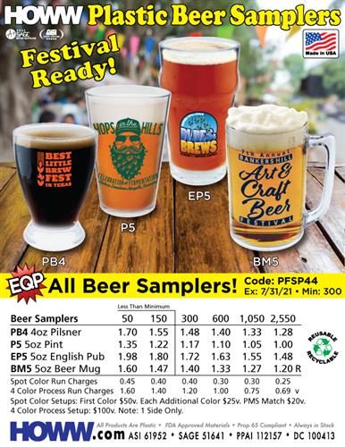 Festival Ready Plastic Beer Samplers - Made in the USA