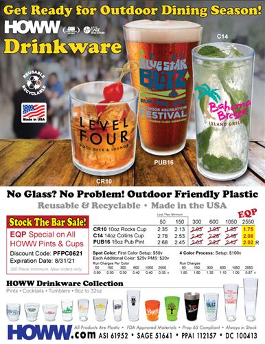 No Glass? No Problem! Outdoor Friendly Plastic Dinkware - Made in the USa