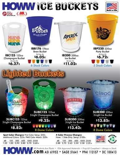 Buckets of Fun! High Quality Plastic Ice Buckets - Made in the USA