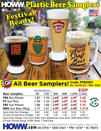 Festival Ready Plastic Beer Samplers - Made in the USA!