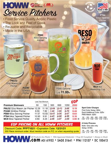 Food Service Quality Acrylic Pitchers - Made in the USA!