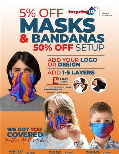Take 5% off and 50% off Custom Printed Masks
