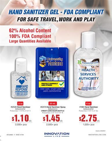 FDA Compliant Gel Hand Sanitizer - Safe for travel, work & play.