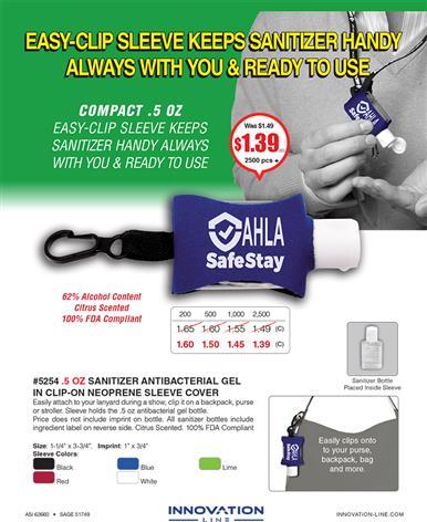Easy-Clip Sleeve Keeps Sanitizer Handy
