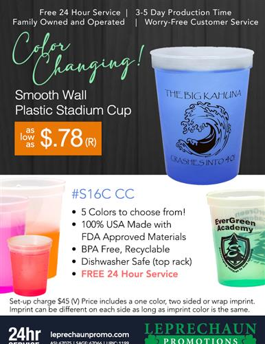 Color Changing Cups with Free 24 Hr Svc from Leprechaun