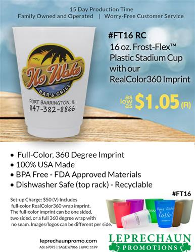 Full Color Frost Flex Cups and Free 24 Hr Svc from Leprechaun