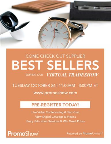 Register now! Live Virtual Best Sellers Themed Tradeshow!