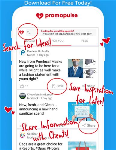 Search, save and share promo ideas with your clients!