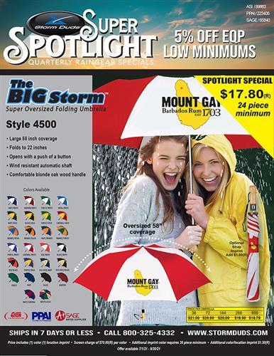 Storm Duds Raingear Oversized Folding Umbrella Big Storm