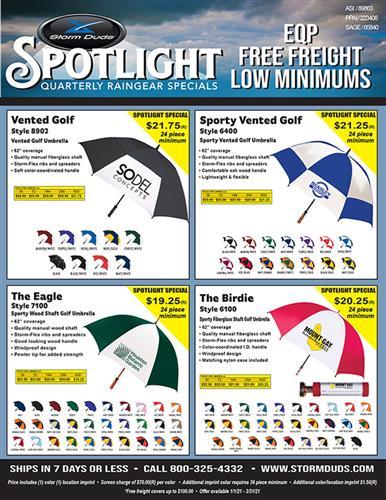 Storm Duds Raingear Q1 Spotlight Specials