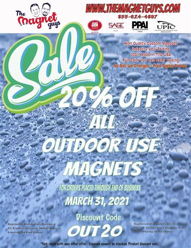 20% Off Outdoor Safe Magnets!