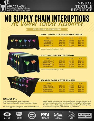 NO SUPPLY CHAIN INTERRUPTIONS FOR TABLE COVERS at VTR