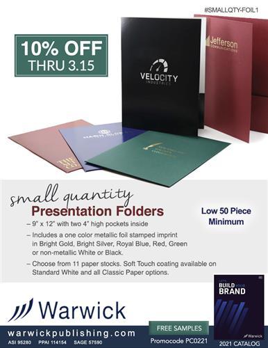 Presentation Folders, 10% Off & 50 Pc Minimum