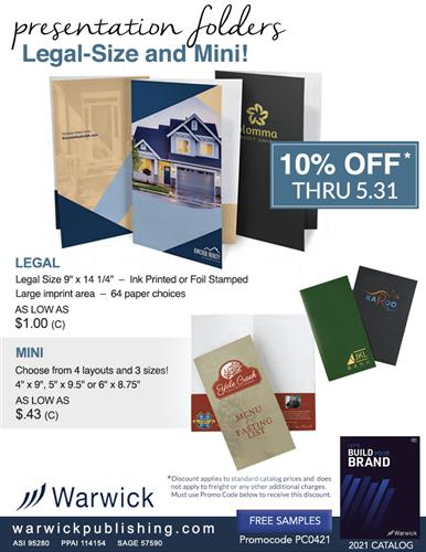 10% OFF Legal and Mini Size Presentation Folders by Warwick