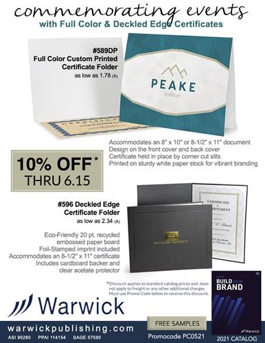 Save 10% on Certificate Holders from Warwick