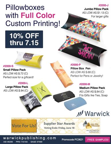 Save 10% on Full Color Pillow Box Packaging from Warwick