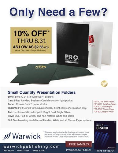 Presentation Folders 50 Piece Min. Now 10% Off from Warwick
