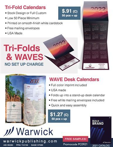 Full Color, Stock or Full Custom Calendars Just 50 Piece Minimum
