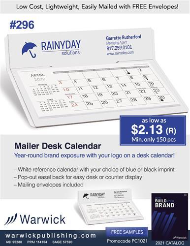 Budget Priced Mailable Desk Calendar, No Set Up-Free Envelopes