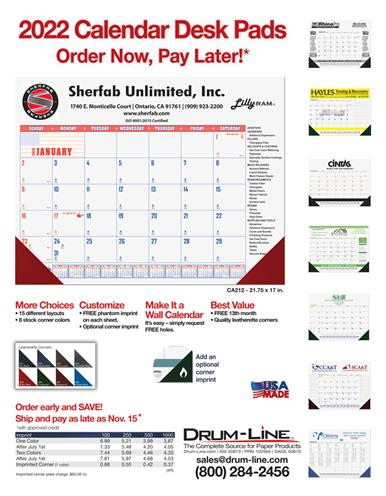 2022 Calendar Desk Pads...Order Now, Pay Later and SAVE