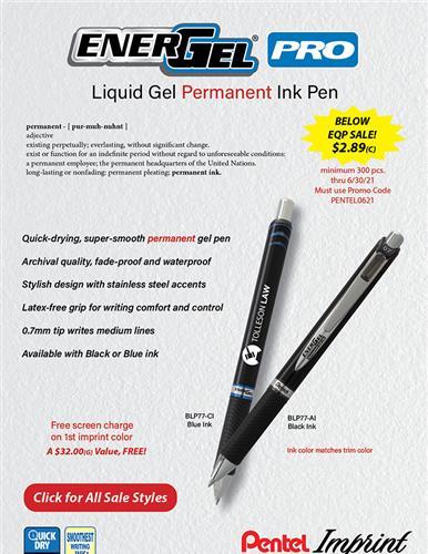 Below EQP Sale on Permanent Gel Ink Pro from Pentel