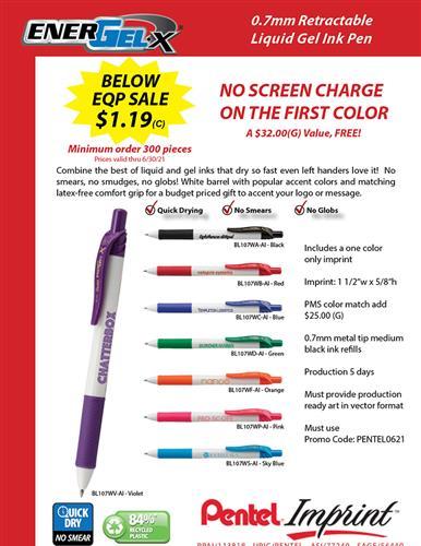 Below EQP on Budget Priced Gel Ink Pens from Pentel