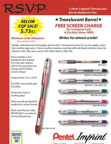 Pentel Quality, Below EQP Budget Prices and Free Screen