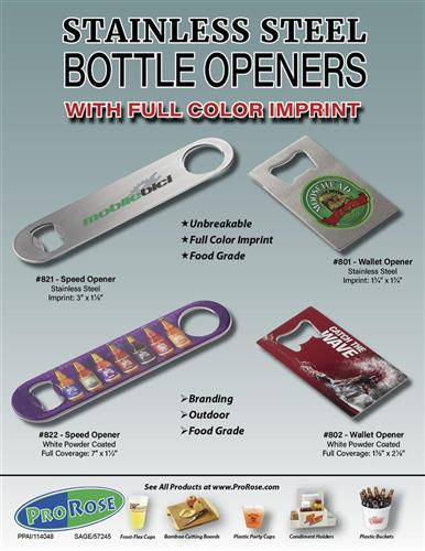 Full Color Stainless Steel Bottle Openers from Prorose