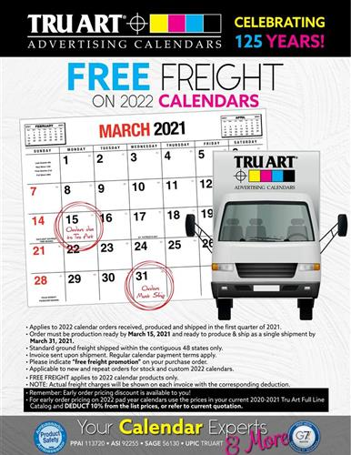 Act now! FREE Freight on 2022 calendars.