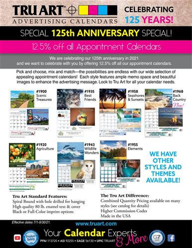 Exciting 125th Anniversary Special! Save on appointment calendars!